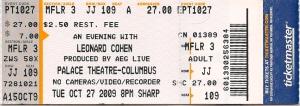 Leonard Cohen ticket