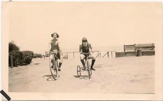 violet (brown) & I on bikes